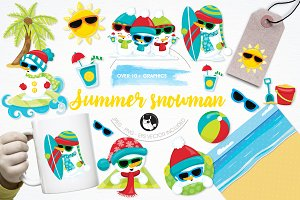 Summer snowman illustration pack