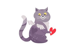 Cat with Angel Wings Holding Red Heart Isolated