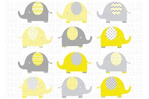 Elephants Clip Art (yellow and grey)