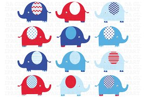 Elephants Clip Art (red and blue)