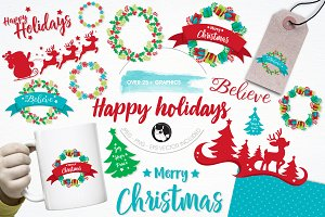 Happy holidays illustration pack