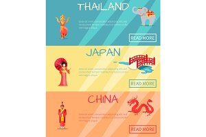 Thai, Japan, China Web Set and Traditional Signs