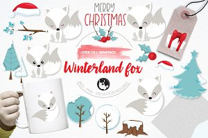 Winterland fox illustration pack