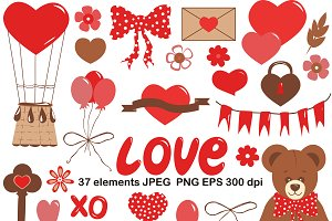 Cute Vector clipart set love