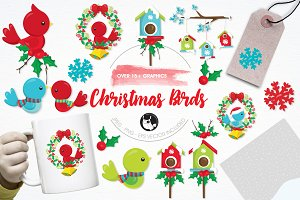 Christmas birds illustration pack