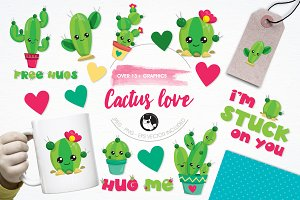 Cactus love illustration pack