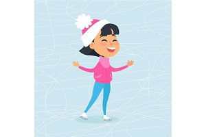 Isolated Smiling Cartoon Girl Skating on Icerink