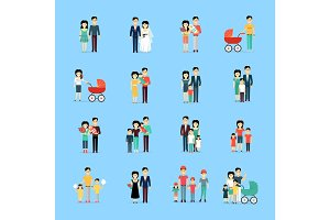 Married Couple People Life Collection on Blue