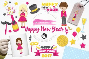 Happy New Year illustration pack