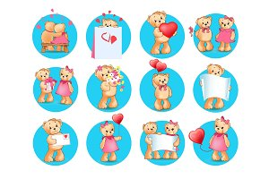 Loving Cartoon Bears Flat Vector Icons Set