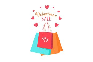 Valentine's Sale Vector Vector Flat Style Concept