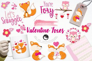 Valentine foxes illustration pack
