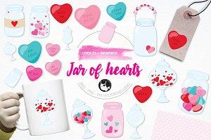 Jar of hearts illustration pack