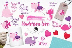 Undersea love illustration pack