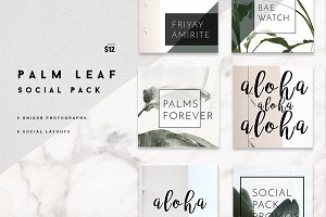 8 Pack Instagram Social Palm Layouts