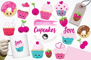 Cupcake love illustration pack