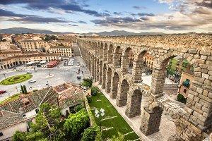 Aqueduct in Segovia, Spain.