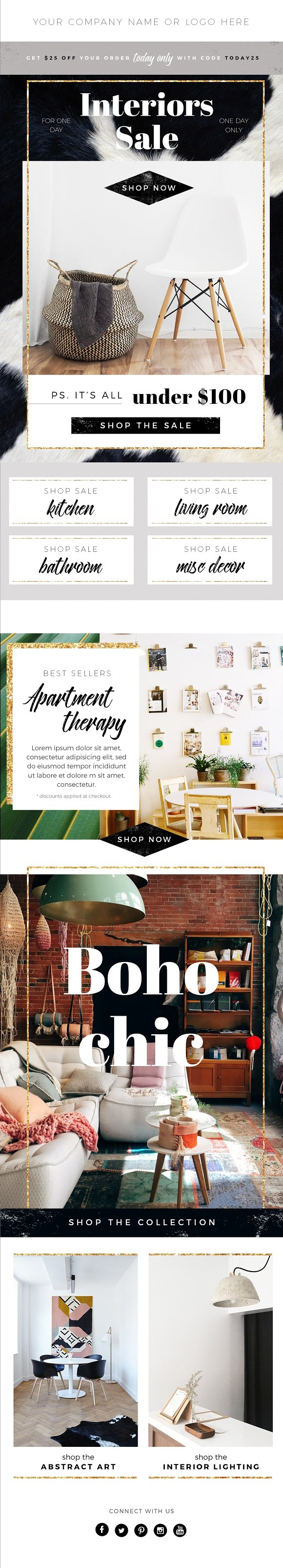 Boho Email Template Psd Interiors Email Templates Creative Market