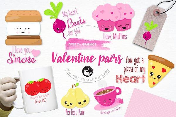 Valentine pairs illustration pack