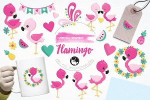 Flamingo illustration pack