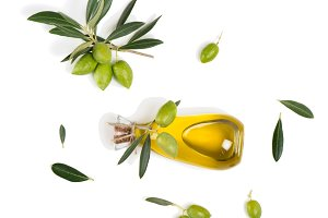 Olives and olive oil, top view.