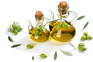 Bottles with olive oil.