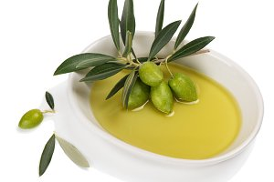 Olive oil in a bowl.