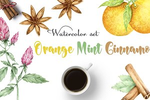 Orange. Mint. Cinnamon. Watercolor