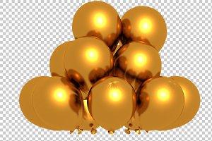 Golden Balloons - 3D Render PNG