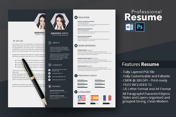 Resume Template Word And Photoshop