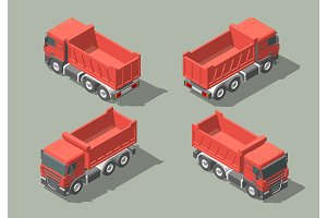 Tip truck isometric icon vector graphic illustration design. infografic
