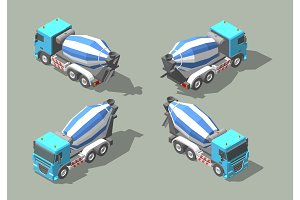 Concrete truck mixer isometric icon vector graphic illustration design. Infografic elements