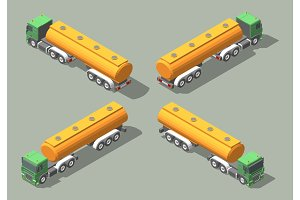 Tanker Truck isometric icon vector graphic illustration design. Infografic elements