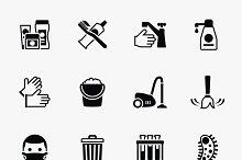 Sanitation and health icons set
