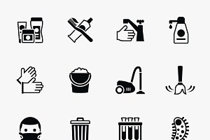 Sanitation and health icons set