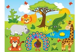 Vector Safari Animals Set