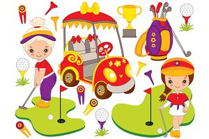 Vector Little Girl Golfers