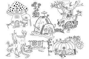 Vector Forest Houses Set