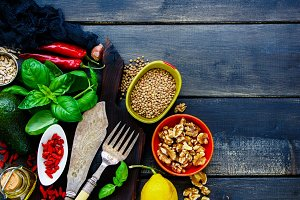 Clean eating cooking ingredients