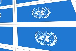Postcards with United Nations flag