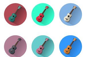 6x Ukulele icons set