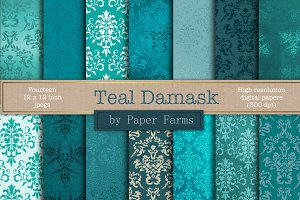 Teal damask digital paper
