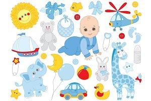 Vector Baby Boy, Newborn, Baby Toys