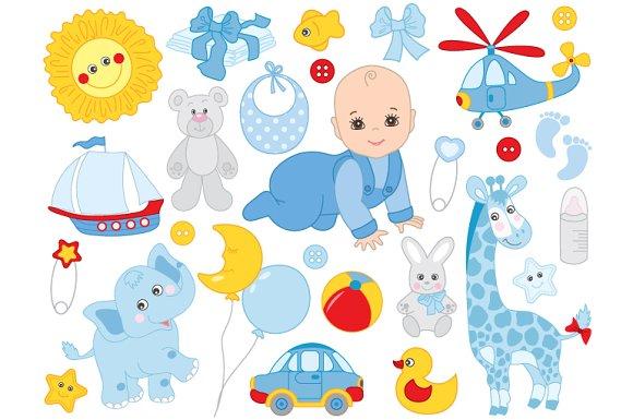 Baby Boy Toys Clip Art : Vector baby boy newborn toys illustrations