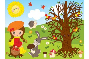 Vector Forest Set with Little Girl