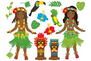 Vector African American Hawaii Girls
