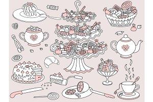 Vector Doodle Tea, Cake, Tea Party