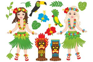 Vector Hawaii Girls Set