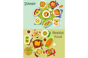 Dinner dishes icon set with salad, snack and soup