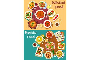 Popular dishes for dinner icon set for food design